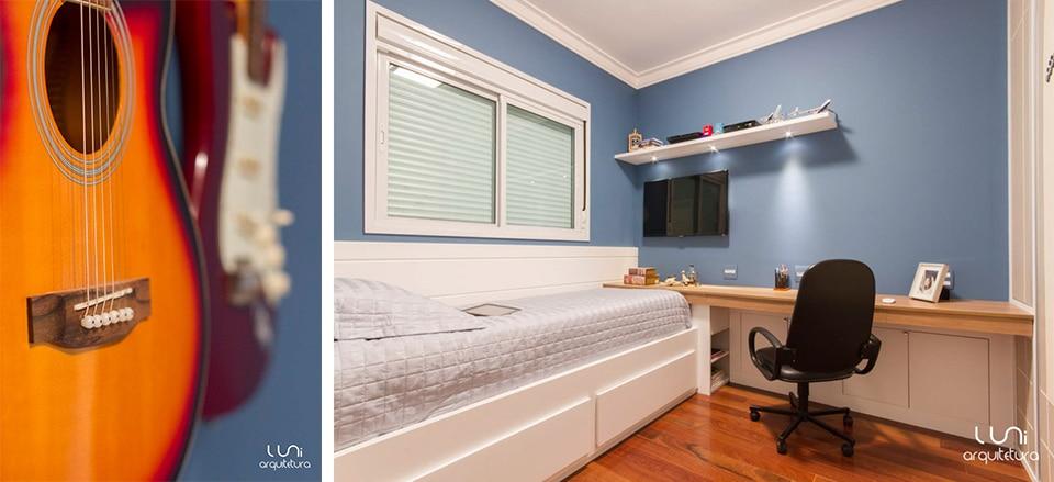 decoracao de interiores quarto solteiro:Projeto de Arquitetura para Quarto Solteiro / adolescente