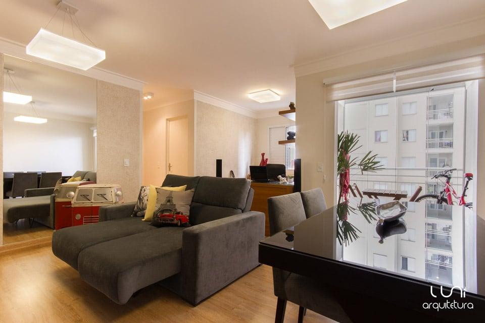 Projeto de Arquitetura de Sala de TV para apartamento pequeno de