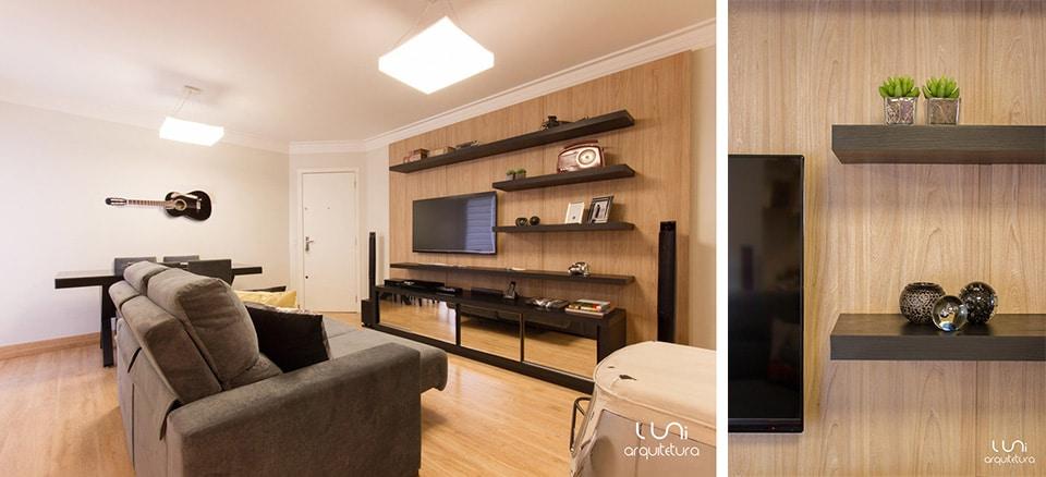 decoracao de interiores sala apartamento:Sala de TV para apartamento de metragem reduzidaLuni Arquitetura e