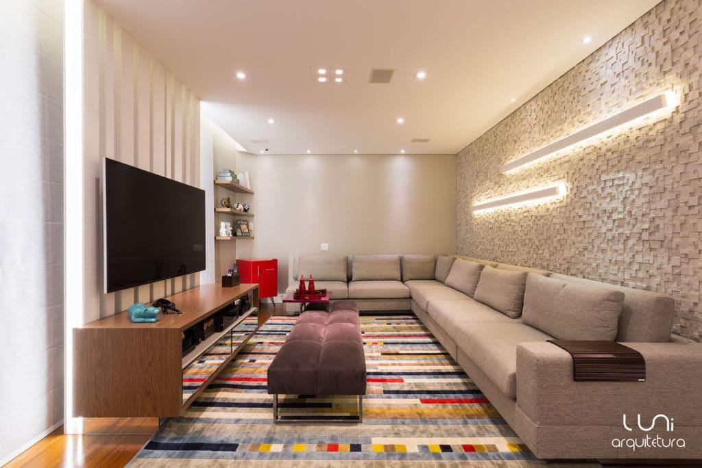 Projeto Sala Tv Home Theater ~ Sala de TV Home Theater  Projeto de Arquitetura