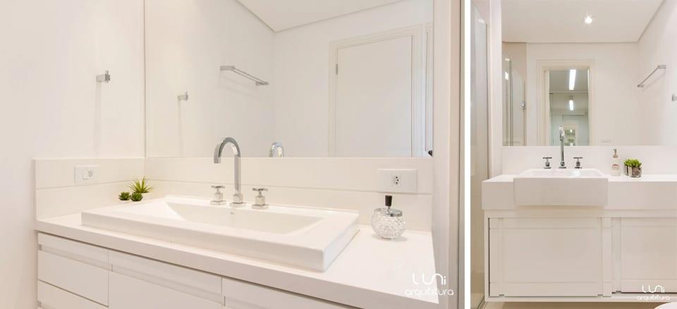 Banheiro Suite Master Casal - Projeto de Banheiro Senhor e Senhora para Suite Master, apartamento no Brooklin com nicho e revestimento em mosaico de pedras