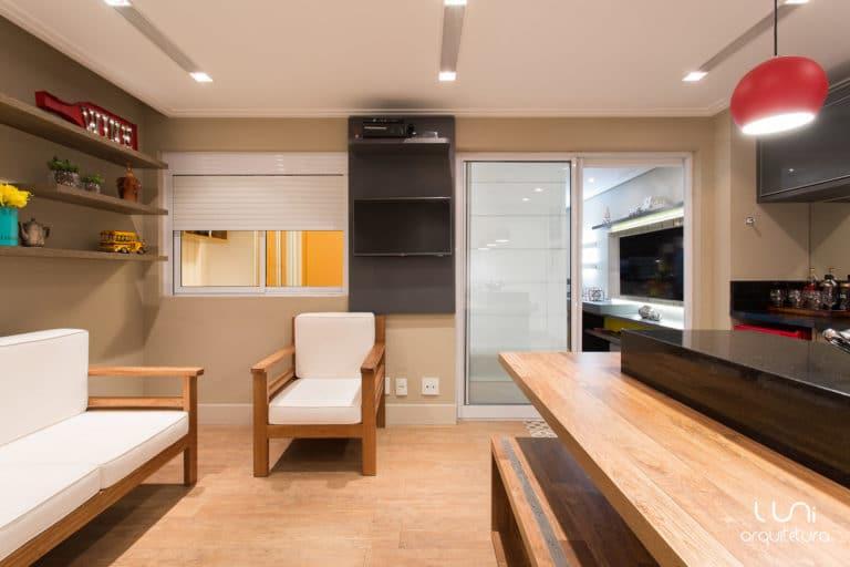 varanda gourmet integrada com sala de tv